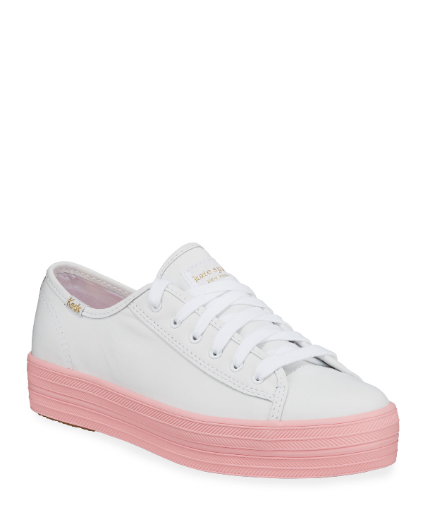 Keds X Kate Spade New York Triple Kick Colorblock Leather In White/Pink