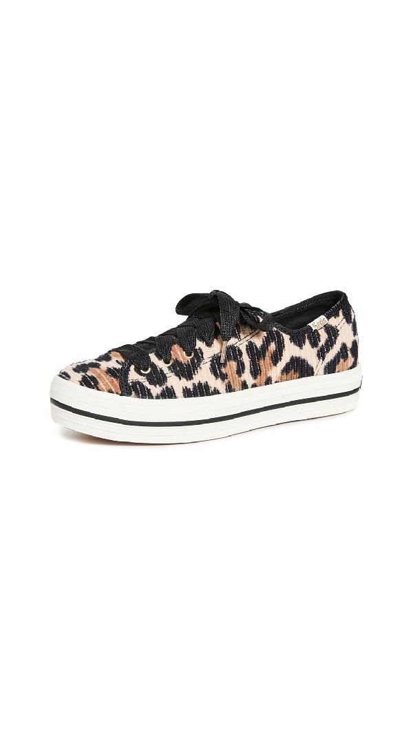 Keds X Kate Spade Triple Kick Leopard Sneakers In Tan Multi