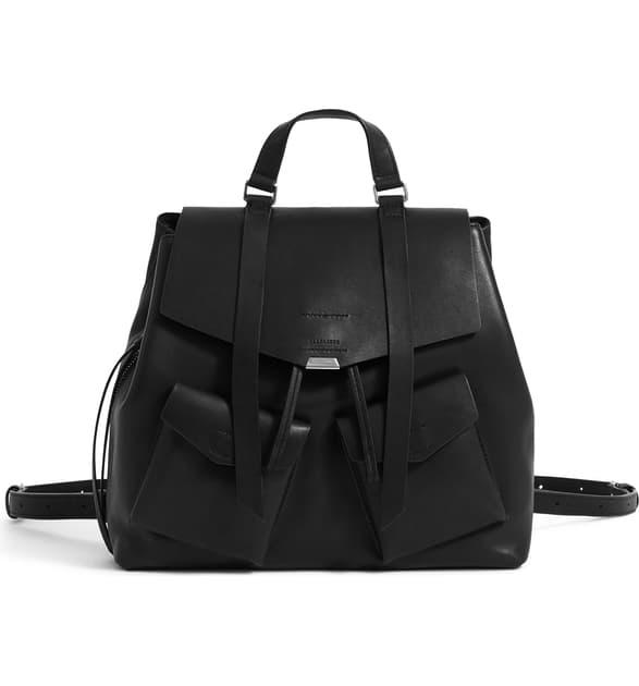 Allsaints Captain Leather Backpack In Black