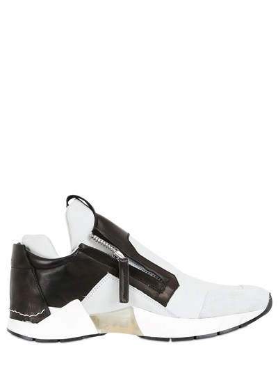Cinzia Araia Mesh & Leather Running Sneakers In Black/white