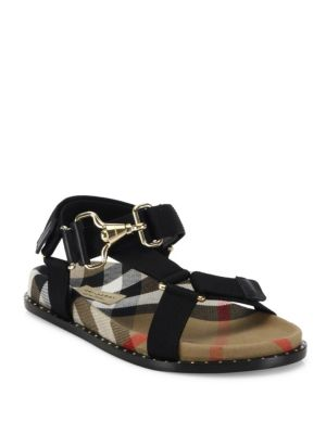 e5b62d86c194 Burberry Hardware Detail Check Three-Point Strap Ripstop Sandals In Black