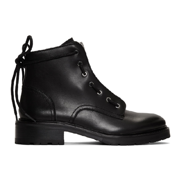 Rag & Bone Women's Cannon Zip-Up Leather Boots In 001 Black