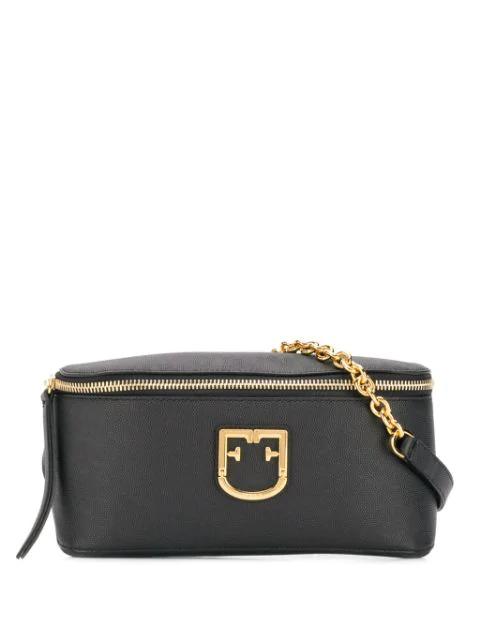 Furla Women's Isola Croc-embossed Leather Belt Bag In Black
