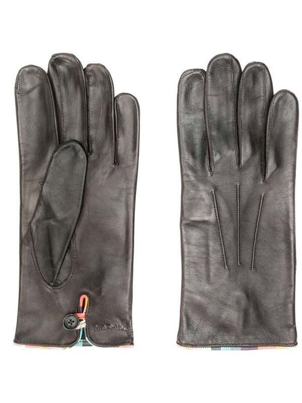 Paul Smith Embossed Logo Gloves In Brown