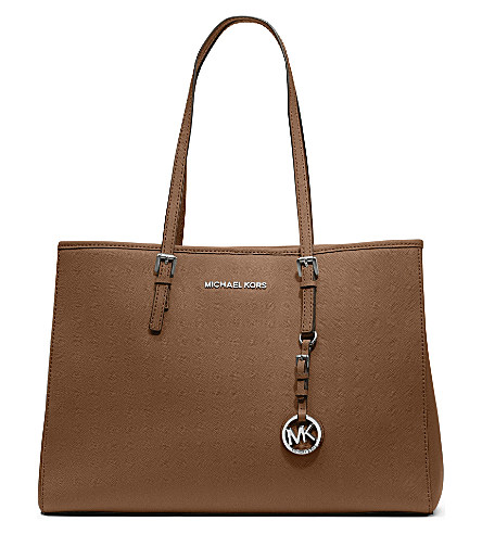 Michael Michael Kors Jet Set Travel Large Saffiano-Leather Tote In Luggage