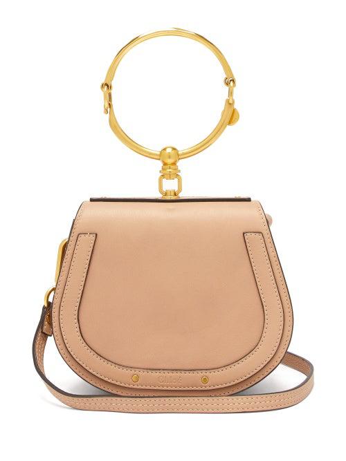 ChloÉ Chloe Small Nile Glossy Lambskin, Calfskin & Suede Bracelet Bag In Neutrals In Beige/Tan