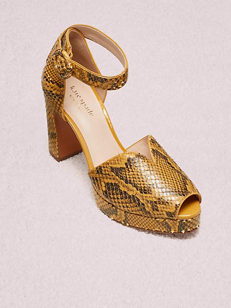 Kate Spade Perry Snakeskin-embossed Leather Peep-toe Pumps In Cherrywood