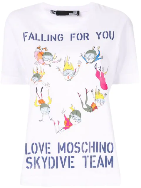 Love Moschino Skydive Team T-shirt In White