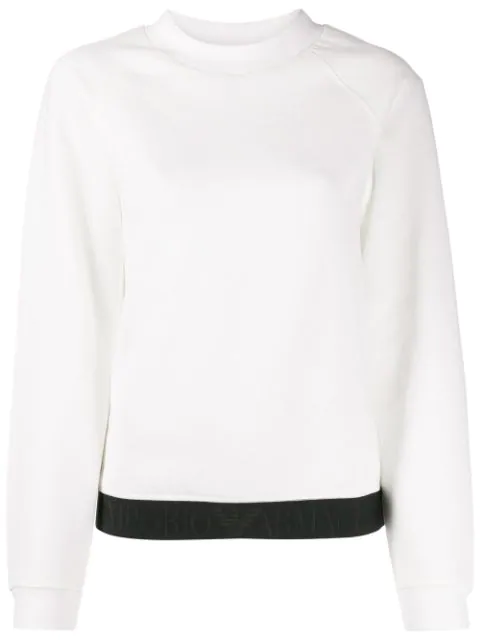 Emporio Armani Logo Jacquard Trim Sweatshirt In White