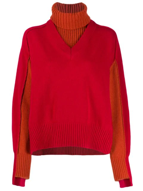 Cedric Charlier Layered Knit Jumper In Red