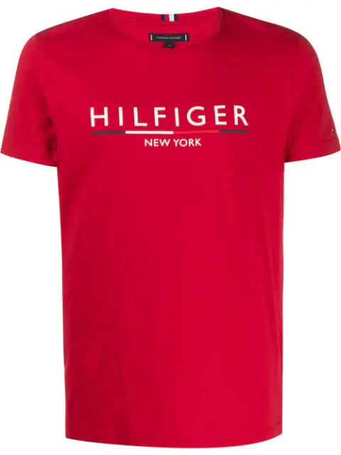 Tommy Hilfiger Logo Embroidered T-shirt In Red