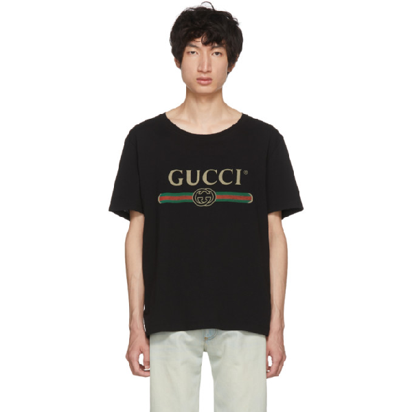 Gucci Oversized T-shirt With Logo In 1508 Black