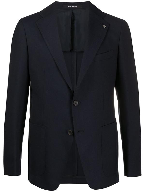 Tagliatore Navy Blue Virgin Wool-cotton Blend Blazer