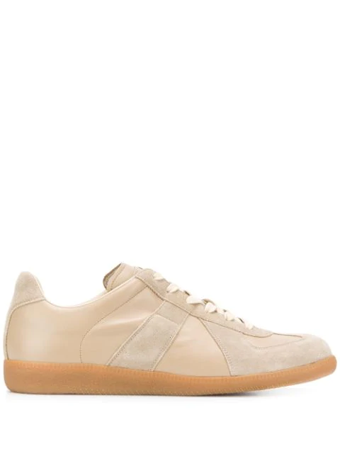 Maison Margiela Replica Suede-paneled Leather Low-top Sneakers In 220 Nude