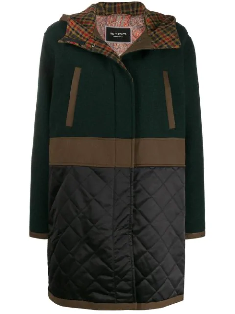 Etro Contrast Panel Hooded Parka In Green