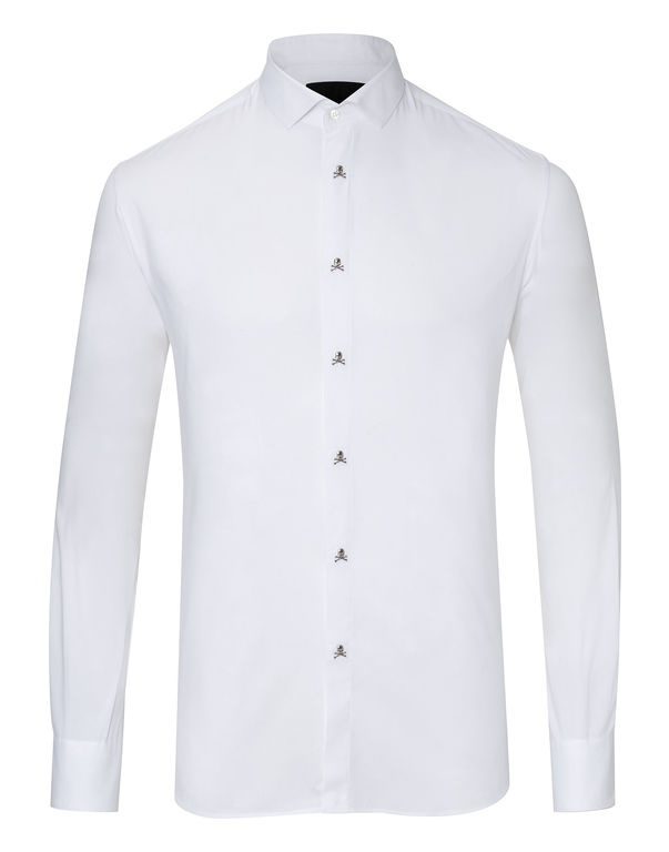 "Philipp Plein Shirt Platinum Cut Ls ""Bomb"" In White"