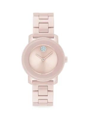 Movado Women's Bold Stainless Steel & Pink Ceramic Bracelet Watch