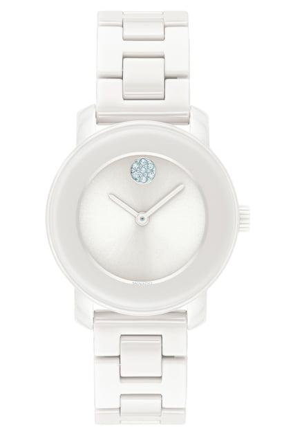 Movado Women's Bold Stainless Steel & White Ceramic Bracelet Watch