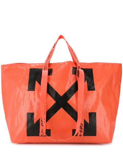 Off-white Arrows Tote Bag In Orange And Black Pvc