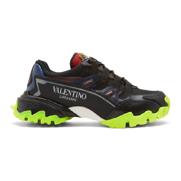 Valentino Garavani Climbers Leather And Fabric Sneakers In Black