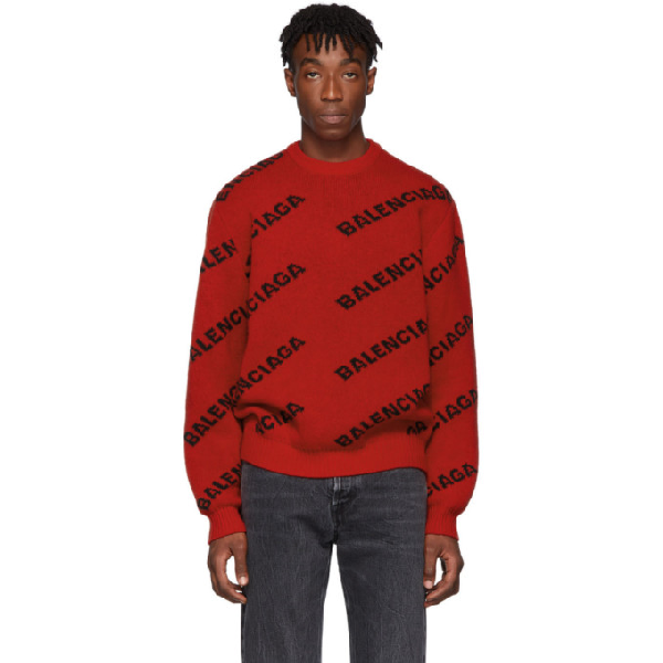 Balenciaga Red Men's Red And Black Logo Print Sweater In 6167red/bl