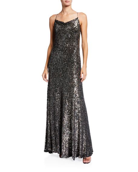 Elie Tahari Jazzie Metallic Cowl-neck Sleeveless Gown In Copper Multi