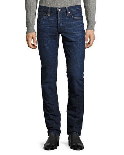 Tom Ford Straight-Fit Denim Jeans, Worn Blue