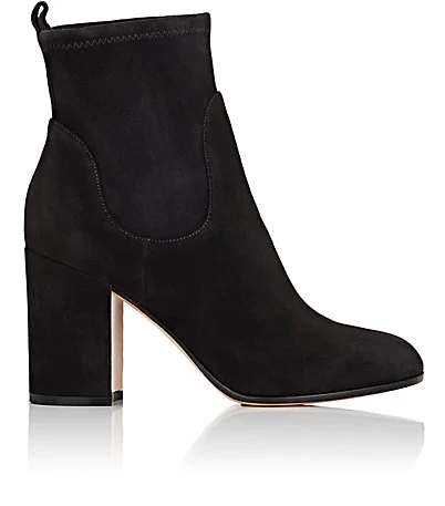 Gianvito Rossi Chunky-Heel Suede Ankle Boots - Black In Lead Grey