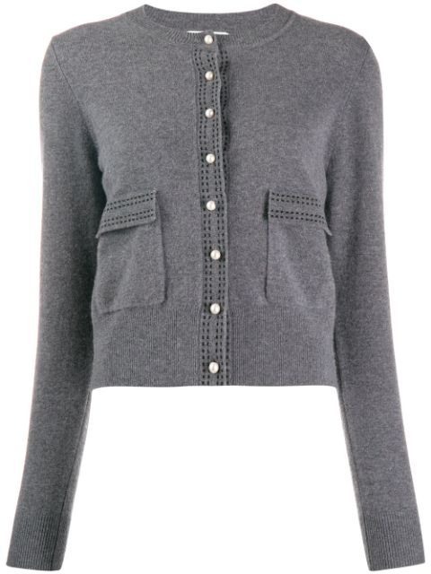Imani Contrast topstitched Wool Cardigan In Gris
