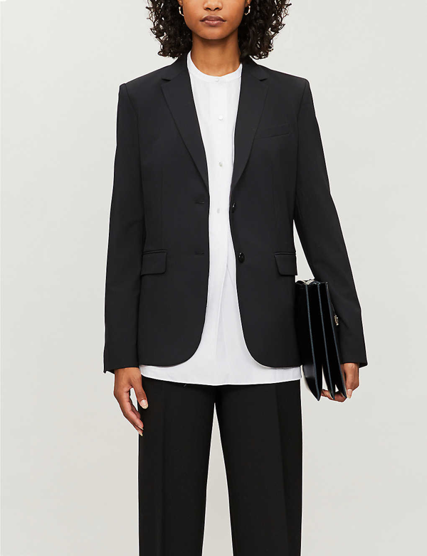 Theory Single-breasted Wool-blend Blazer In Black