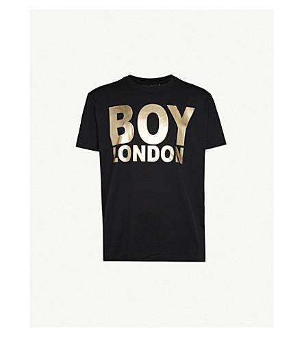 Boy London Logo-Print Cotton-Jersey T-Shirt In Black/Gold