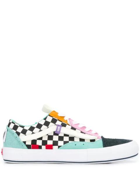 Vans Color Block And Check Print Ua Old Skool Cap Lx Sneakers In Black