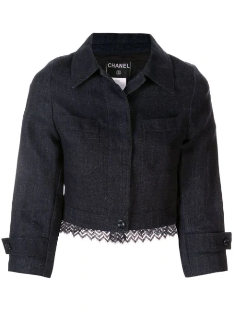 Chanel Zig-zag Knitted Hem Cropped Jacket In Blue