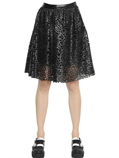 Karl Lagerfeld Laser-Cut Faux Leather Skirt In Black