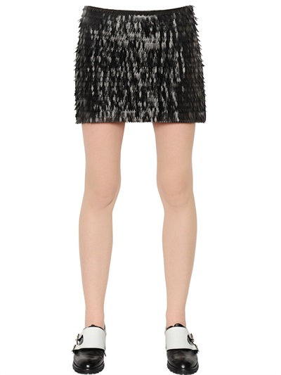 Karl Lagerfeld Fringed Faux Leather & Jersey Skirt In Black