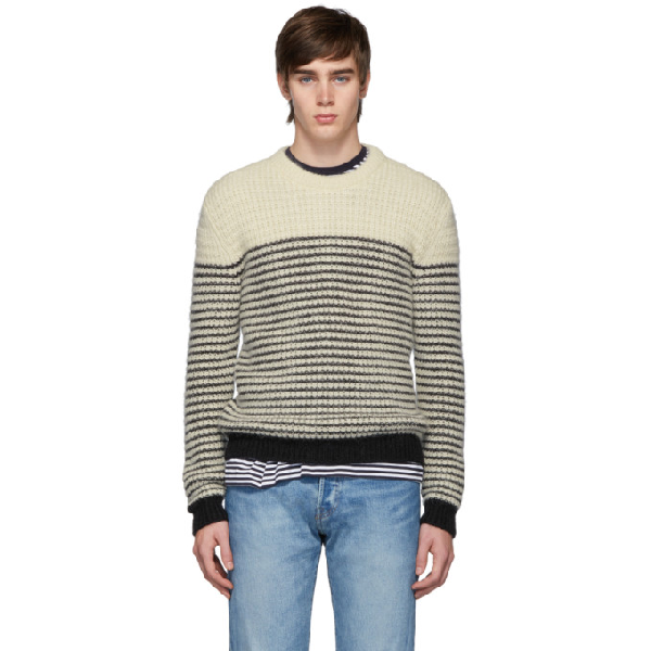 Saint Laurent Striped Wool Mohair And Alpaca Sweater In 9744 Natblk