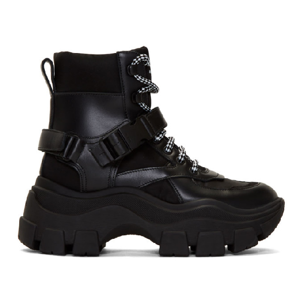 Prada Block Leather And Nylon Ankle Boots With Chunky Sole In F0002 Black