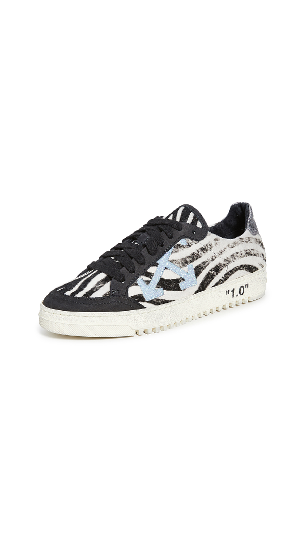 Off-White Low-Top Zebra Arrow Leather Sneakers In Black/Blue