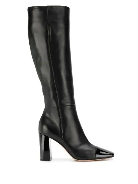 Gianvito Rossi Patent Toe Leather Boots In Black