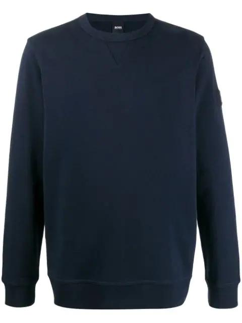Hugo Boss Relaxed-fit Crew Neck Sweatshirt In Blue