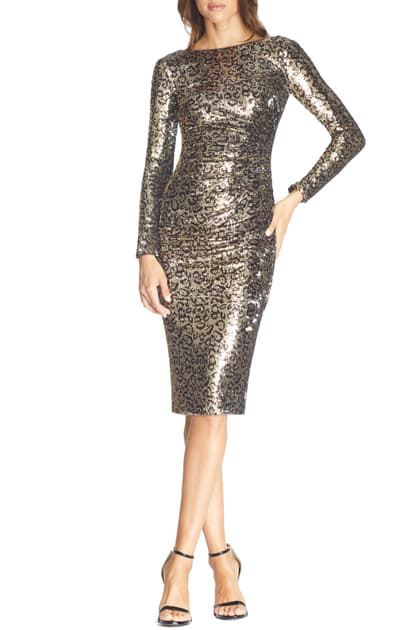 Dress The Population Emilia Leopard Sequin Long Sleeve Cocktail Dress In Gold Leopard Multi