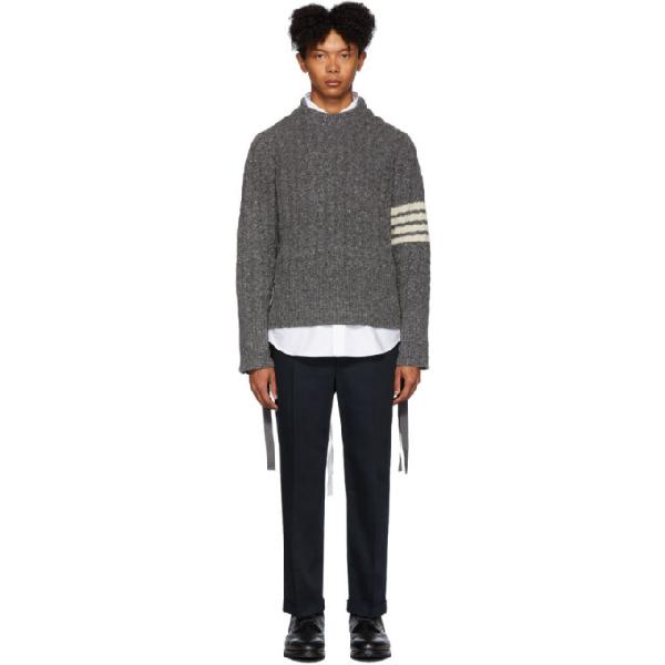 Thom Browne Grey Aran Cable 4-Bar Sweater In 035 Medgrey