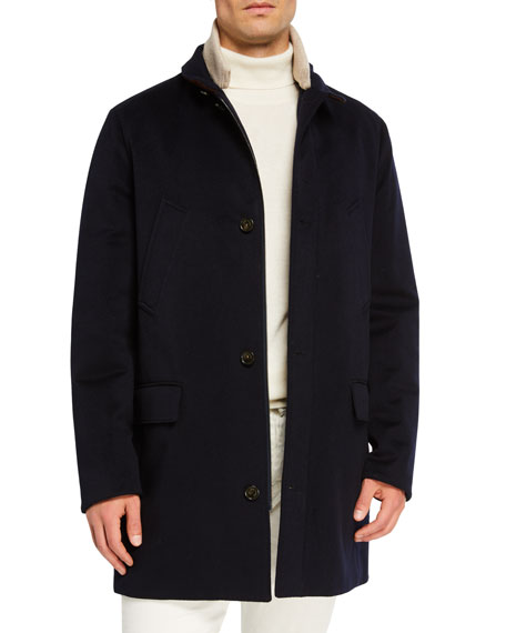Loro Piana Men's Brookland Suede-collar Cashmere Storm Coat In Blue