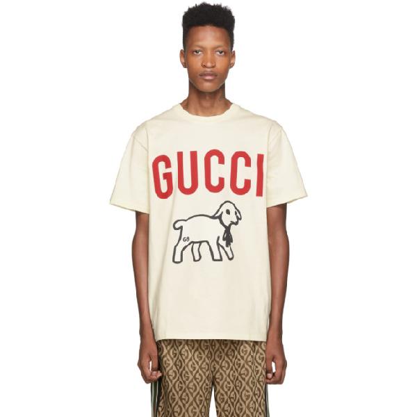 Gucci Lamb-print Cotton-jersey T-shirt In Cream