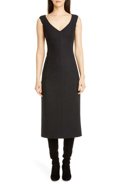 Theory Paneled Off-Shoulder Heavy Wool Dress In Charcoal Melange