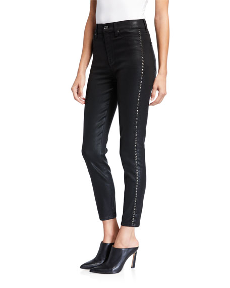 7 For All Mankind High-Waist Coated Ankle Skinny Jeans With Jeweled Stripes In Black