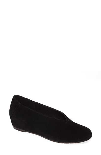 Eileen Fisher Patch Suede Ballet Flats In Black Suede