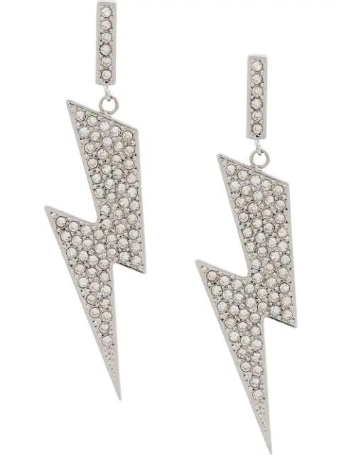 Isabel Marant Flash Silver-tone Lightning Bolt Drop Earrings