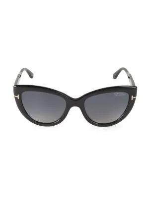 Tom Ford Women's Polarized Cat Eye Sunglasses, 55Mm In Shiny Black/Smoke Polarized