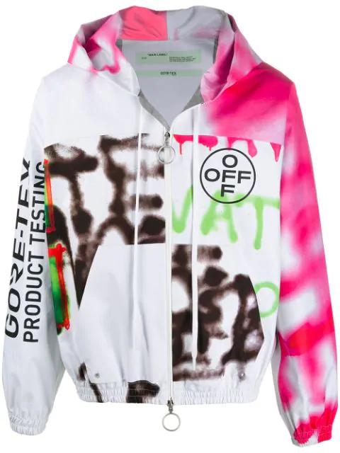 Off-White Printed Zip-Up Goretex Sweatshirt Hoodie In 0188 White Multicolor